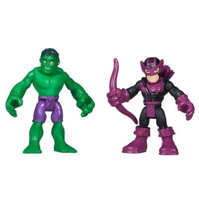 Bonecos Marvel Super Hero Adventures - Hulk e Hawkeye - Hasbro - Disney