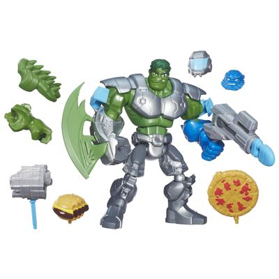 Boneco Transformável e Acessórios - 2 em 1 - Marvel Super Hero Mashers - Hulk e A-Bomb - Hasbro - Disney