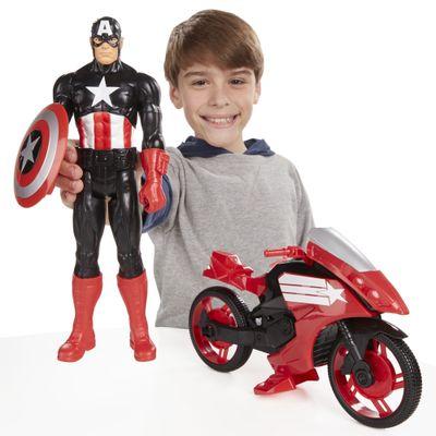 Boneco Articulado e Veículo Avengers Titan Hero - Capitão América - 30 Cm - Hasbro - Disney