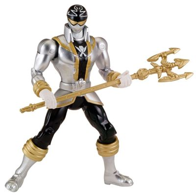 Boneco Power Ranger Super Megaforce 30 cm - Ranger Prata Armadura Super Mega - Sunny