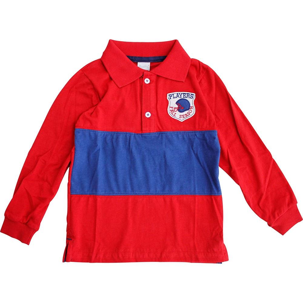 Camisa Polo Manga Longa Futebol Americano - Mini&Ninha Mini&Ninho - GBaby Camisa Polo Manga Longa Futebol Americano - Tam 1 - Mini&Ninha Mini&Ninho - GBaby