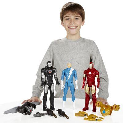 Bonecos Marvel Titan Hero Series - 30 cm - Iron Man, War Machine e Quick Silver - Hasbro - Disney