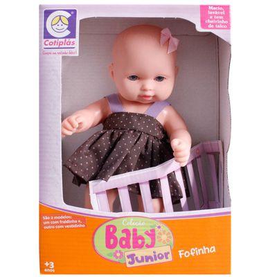 Boneca-Baby-Junior-Fofinha---Vestido-Marrom-com-Poas---Cotiplas