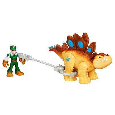 Figura Jurassic World - Dinossauro Stegosaurus e Caçador - Playskool Heroes - Hasbro