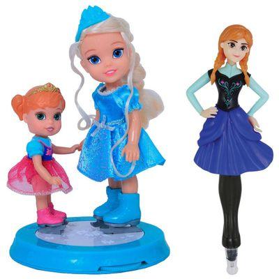 Bonecas Disney Frozen - Anna 15 cm e Elsa 10 cm + Caneta Anna