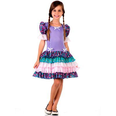 Fantasia-Junina-Luxo---Vestido-Azul-Com-Babado---Tam-P---Sulamericana