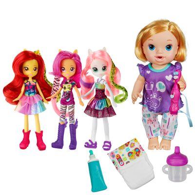 Kit-Boneca-Baby-Alive---Bons-Sonhos-Loira---Bonecas-Equestria-Girls---Wild-Rainbow---Hasbro
