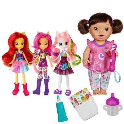 Kit-Boneca-Baby-Alive---Bons-Sonhos-Morena---Bonecas-Equestria-Girls---Wild-Rainbow---Hasbro