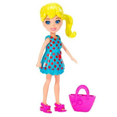 Boneca-Polly-Pocket-Polly-Vestido-Azul-com-Bolinhas-e-Bolsa-Rosa-Mattel