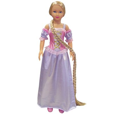 Boneca Stephany Rapunzel Roupa Lilás com Rosa - Baby Brink