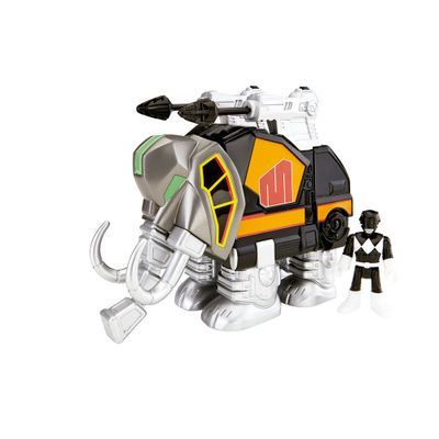Figura Mighty Morphin Power Rangers - Zord Rangers - Ranger Preto e Mastodonte - Fisher-Price
