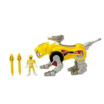 Figura Mighty Morphin Power Rangers - Zord Rangers - Ranger Amarela e Tigre Dentes de Sabre - Fisher-Price