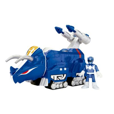 Figura Mighty Morphin Power Rangers - Zord Rangers - Ranger Azul e Triceratops - Fisher-Price
