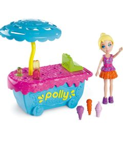 Playset-Polly-Pocket-Parque-de-Diversoes---Banquinha-de-Sorvete---Mattel