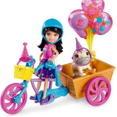 Boneca Polly Pocket - Aniversário Pet - Bicicleta da Crissy - Mattel
