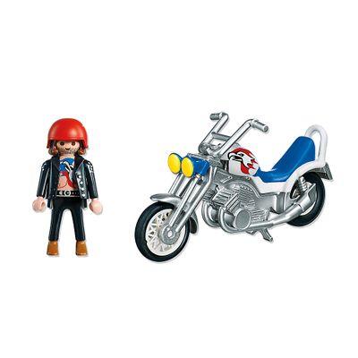 Playmobil Esporte e Ação - Motocicleta Cinza e Azul - 5526