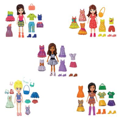 Conjunto Polly Pocket - 5 Amigas Super Fashion - Mattel