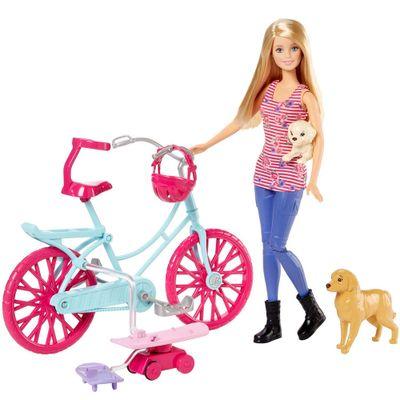 Boneca Barbie - Bicicleta com Pets - Mattel