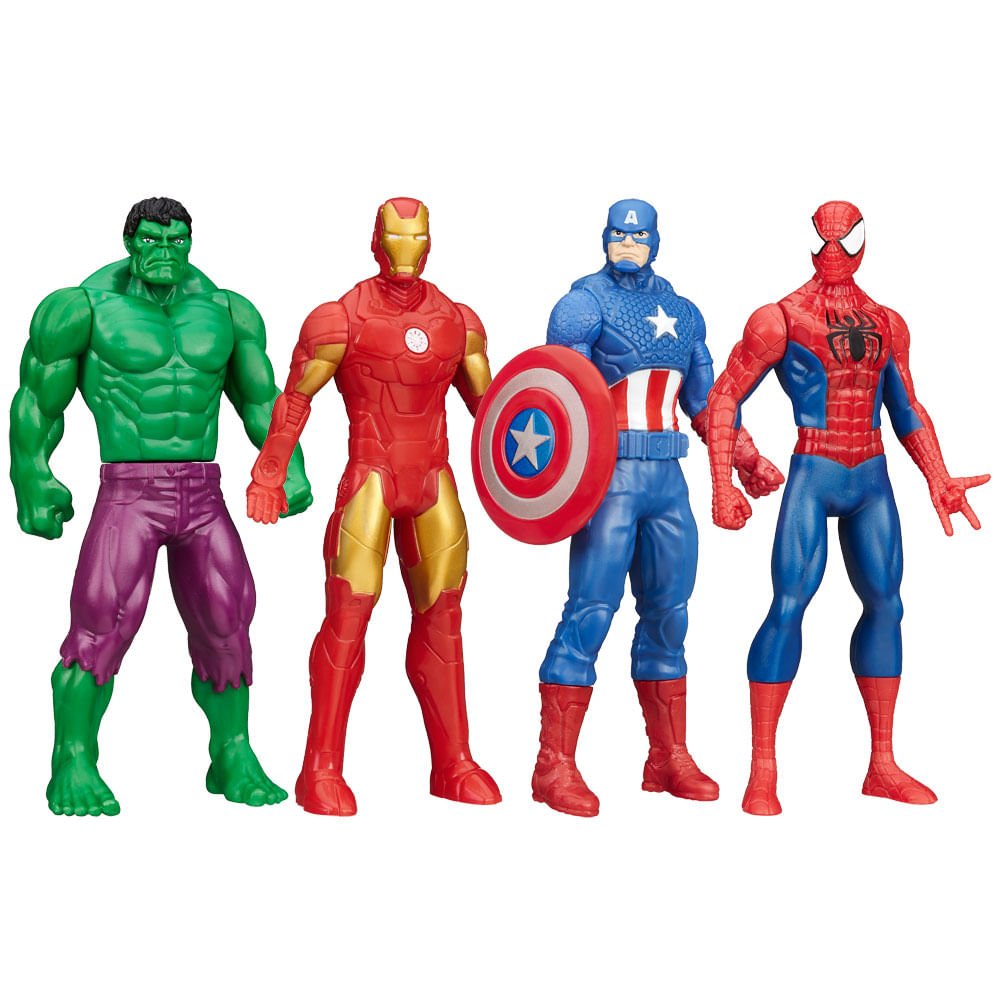 Kit Bonecos Marvel - Avengers 15 cm - Spider - Man + Capitão América + Iron Man + Hulk - Hasbro