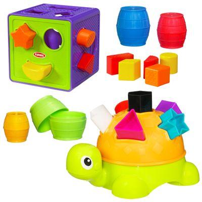 Tartaruga com Formas + Cubo com Formas + Barris de Encaixar - Playskool - Hasbro