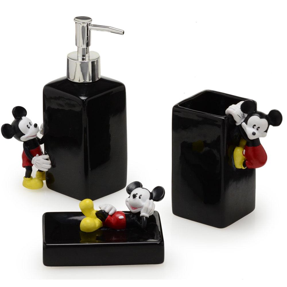 Jogo de Banho - Preto - Mickey Mouse - 03 Peças - Mabruk