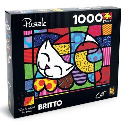Quebra-Cabela Romero Britto - Cat - 1000 Peças - Grow