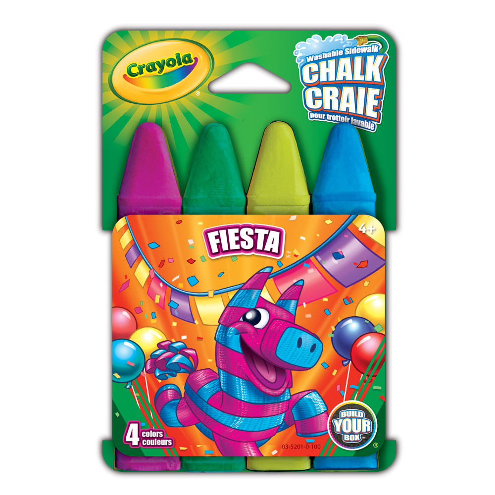 Conjunto - Giz para Calçada - Chalk Fiesta 4 Cores - Crayola