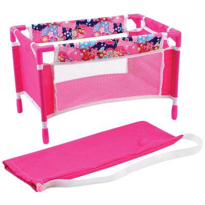 Berço de Boneca - Rosa Floral - New Toys