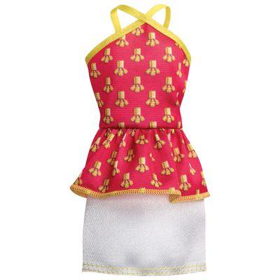 Roupinha para Boneca Barbie - Vestido Rosa e Branco - Mattel