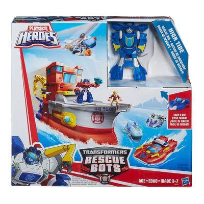 Figura e Veículo - Transformers Rescue Bots - Playskool - High Tide Barco de Resgate - Hasbro