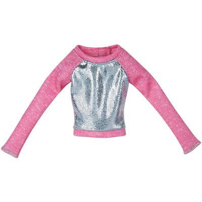 Roupinha para Boneca Barbie - Blusa Rosa e Prata - Mattel