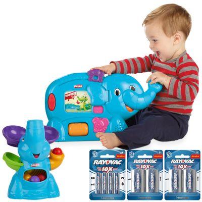 Kit Playskool Elefante Bolinhas Voadoras + Elefun Primeiras Palavras - Hasbro com Pilhas (AA e D)