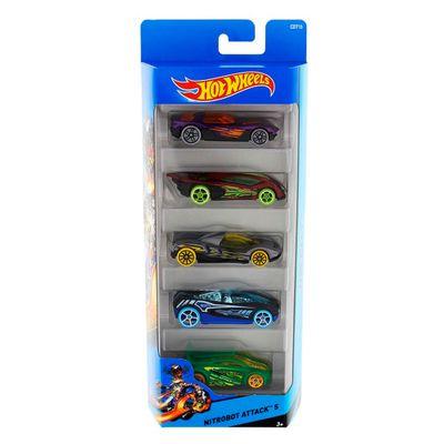 Carrinhos-Hot-Wheels---Pacote-com-5-Carros---Nitrobot-Attack-5---Mattel