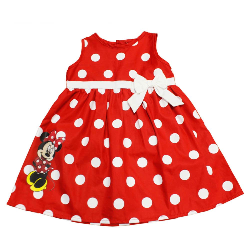 Vestido com Laço - Minnie - Vermelho e Branco - Disney - 1