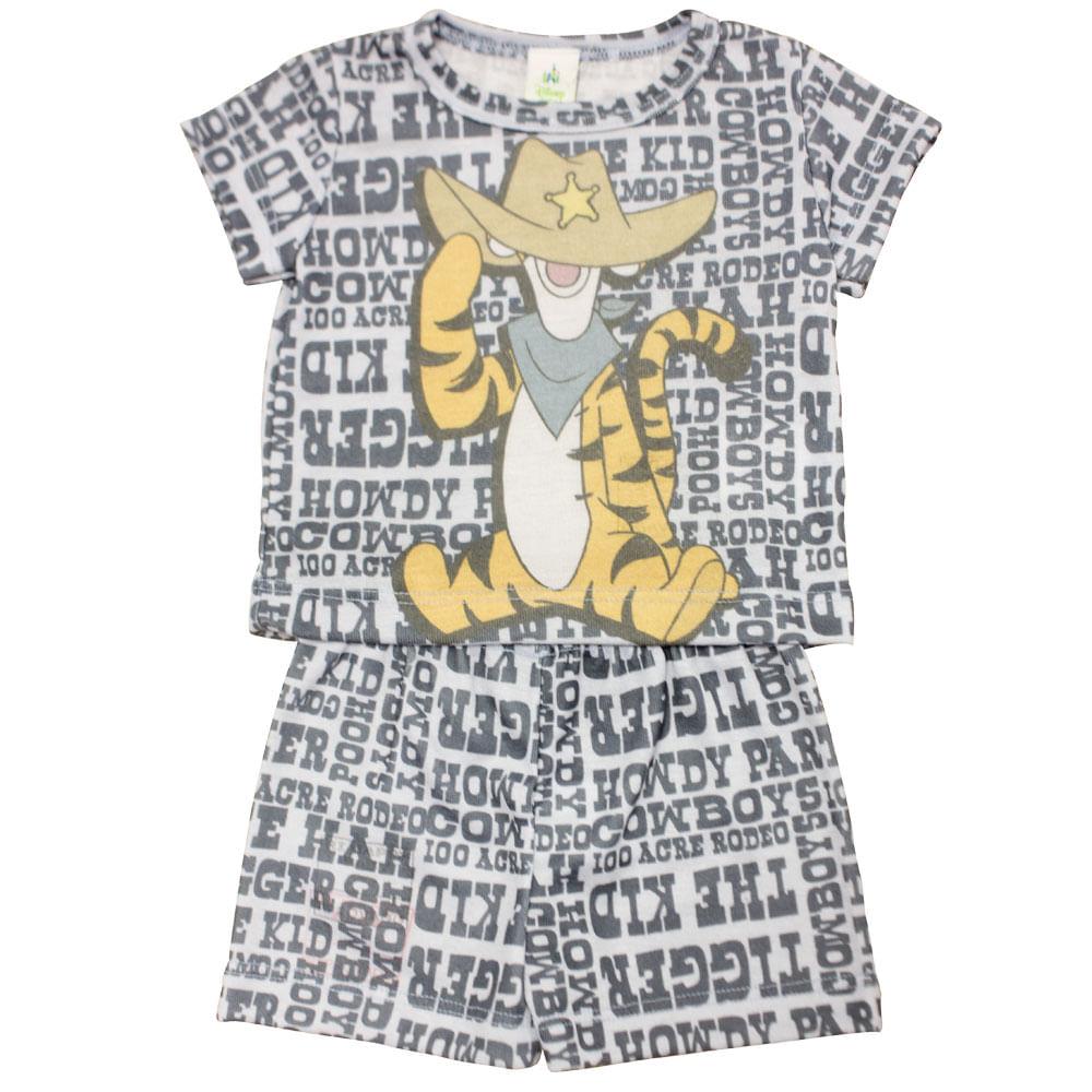 Pijama Curto - Tigrão - Winnie, The Pooh - Azul - Disney - P