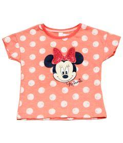 Blusa-Manga-Curta-com-Paete---Minnie---Rosa-Coral---Disney