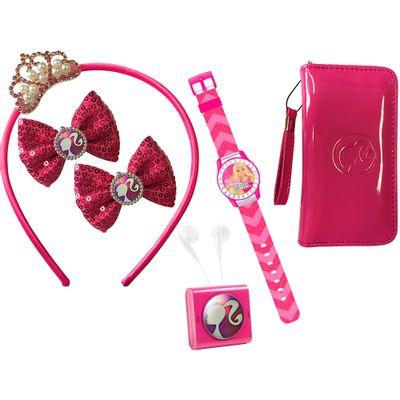Conjunto Barbie Fashionastic - Rádio - Relógio - Bolsa - Tiara e Presilhas - Candide