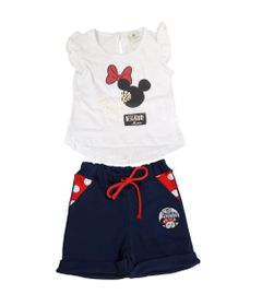 Conjunto-Blusa-Manga-Curta-e-Short---Minnie---Branco-e-Jeans---Disney---P-1