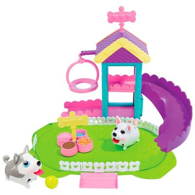 Kit Au-Au Pets - Boneco Husky e Playset Parquinho Pomeranian - Multikids