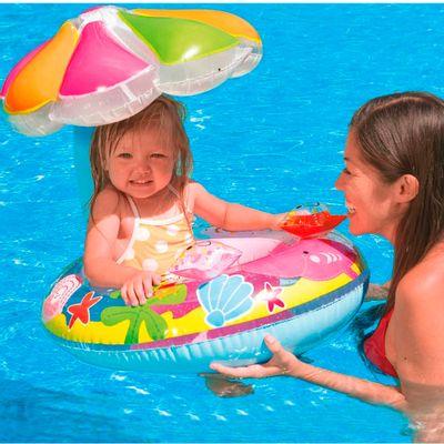 Bóia Inflável - Baby Bote com Cobertura - Peixinhos - New Toys