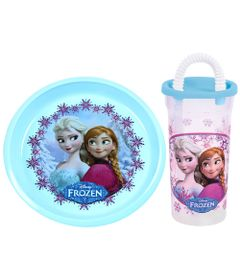 Kit-Prato-Grande-Decorado-Copo-com-Canudo-440ml-Disney-Frozen-BabyGo