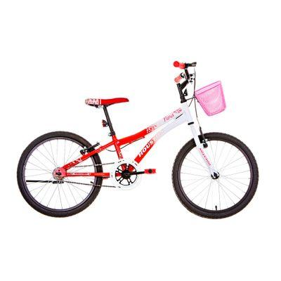 Bicicleta Aro 20 - Nina - Branca e Vermelha - Houston