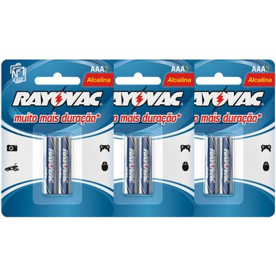 Kit com 6 Pilhas Alcalinas Rayovac AAA (LR03 - Palito)