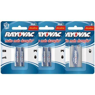kit-com-4-pilhas-alcalinas-rayovac-aaa-lr03-palito-bateria-alcalina-rayovac-9v-6lr61-quadrada