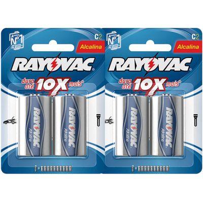 Kit com 4 Pilhas Alcalinas Rayovac C (LR14 - Média)