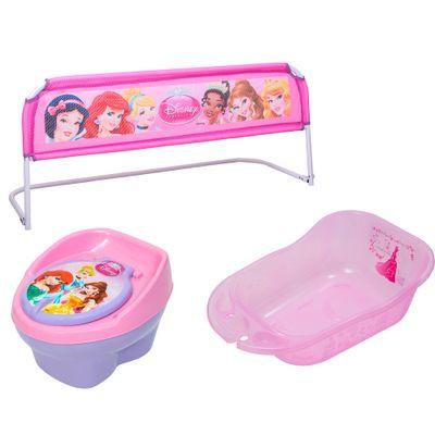 Kit Princesas Disney - Troninho, Banheira Rosa e Grade de Cama - Styll Baby