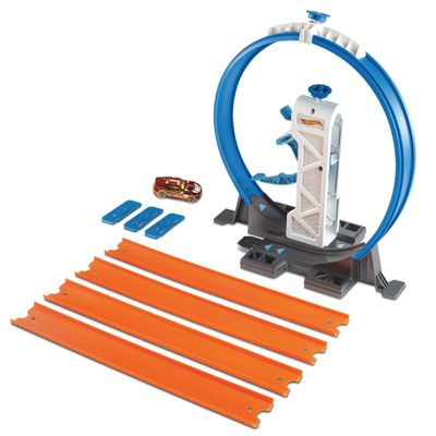 Conjunto-de-Pista-e-Extensores-Hot-Wheels---Looping-e-Lancador-com-Veiculo---Mattel
