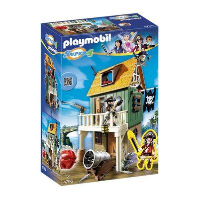 Playset e Figura Playmobil - Série Super 4 - Forte Pirata Camuflado com a Ruby - 4796