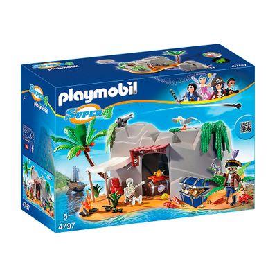 Playset e Figura Playmobil - Série Super 4 - Caverna Pirata - 4797