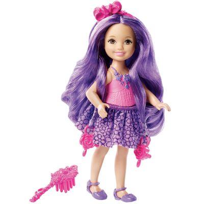 Mini Boneca Barbie - Reinos Mágicos - Chelsea Penteados Mágicos - Penteado Roxo - Mattel